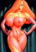 drawn Ginger Jessica Rabbit possing naked cartoon