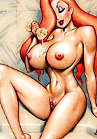 famous Ginger Jessica Rabbit possing naked toon pics